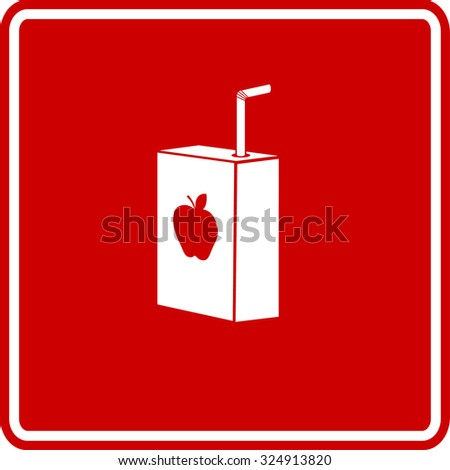 apple juice box with drinking straw sign - stock vector