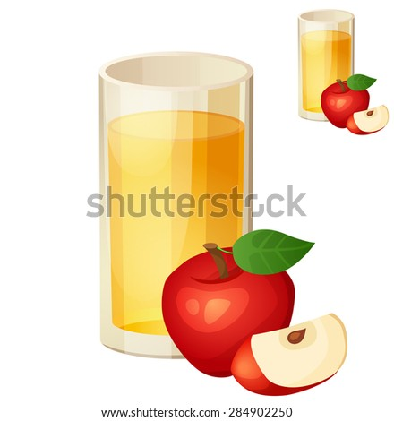 Apple juice. Detailed Vector Icon isolated on white background. Series of food and drink and ingredients for cooking. - stock vector