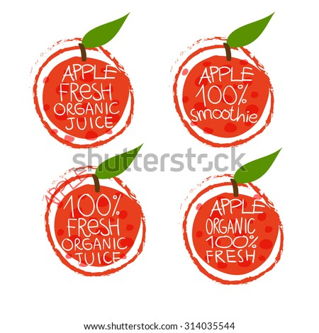 Apple juice or products vector set of icons for use