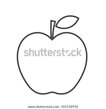 Apple linear shape. Vector illustration