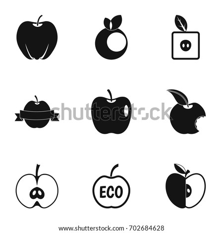 apple logo white vector. apple logo icon set. simple set of 9 vector icons for web isolated white