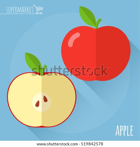 Apple.  Long shadow flat design vector icon.