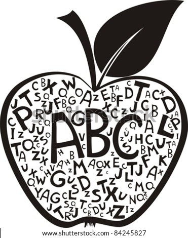 Apple made of alphabet letters