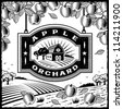 Apple Orchard black and white. Editable vector illustration. - stock photo