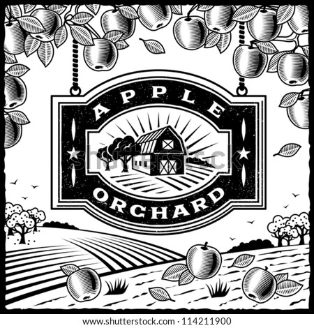 Apple Orchard black and white. Editable vector illustration. - stock vector