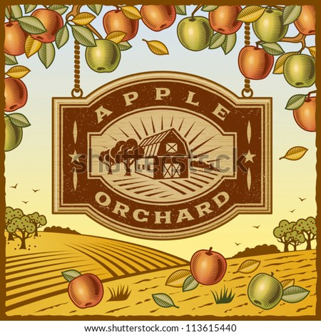 Apple Orchard. Editable vector illustration. - stock vector