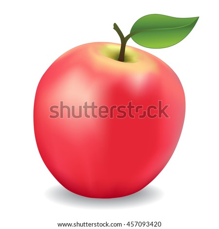 Apple, pink,  fresh, natural, orchard garden fruit isolated on white background.     - stock vector