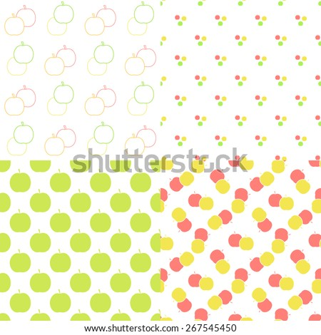 Apple seamless patterns set in modern clean and simple flat design. Apple background. Vector illustration.