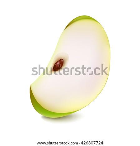 Apple slice. Slice of ripe green apple. Vector illustration of realistic apple slice.  - stock vector