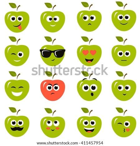 apple smiley faces - stock vector