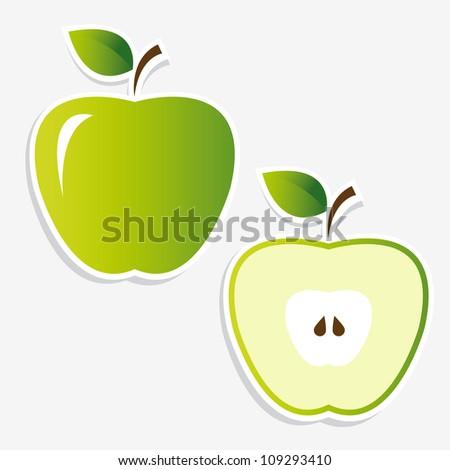 apple stickers - stock vector