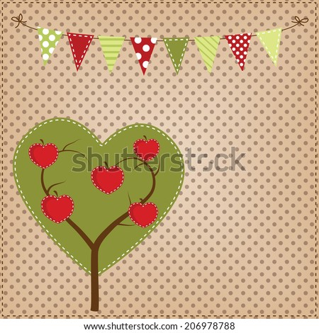 Apple tree in the shape of a heart with bunting or banner on polka dot background for scrapbooking, vector format. - stock vector