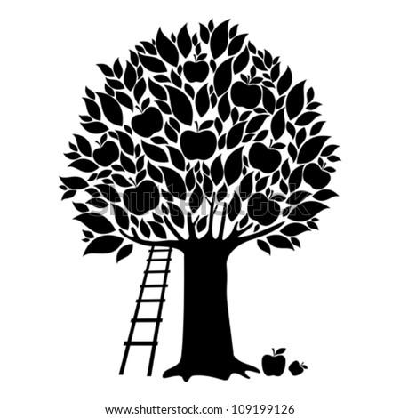 apple tree isolated on white background vector illustration
