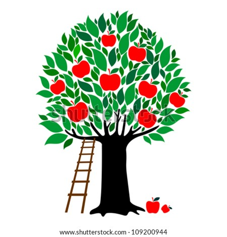 Apple tree isolated on White background. Vector illustration - stock vector