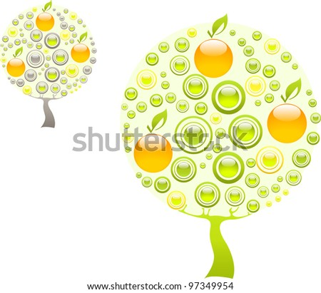 Apple tree made of green and orange gems - stock vector