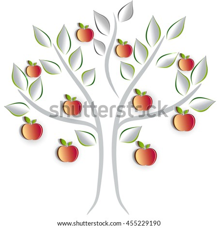 Apple tree on a white background, artistic cut out paper effect design - stock vector