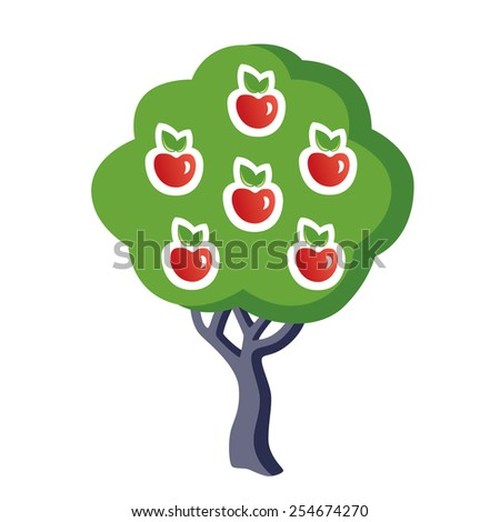 Apple tree vector illustration isolated - stock vector