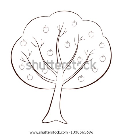 Apple Tree With Apples In Outline Style On White Background Coloring Page For Children