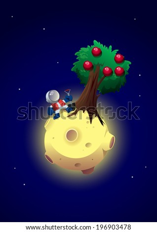 Apple trees on the Moon - stock vector