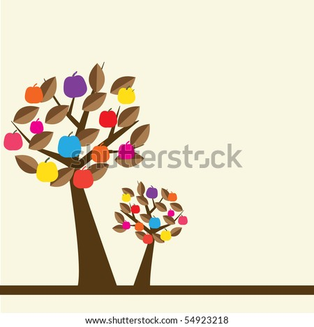 Apple trees  with multicolored fruits - stock vector