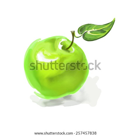 apple Vector illustration  hand drawn  painted watercolor  - stock vector