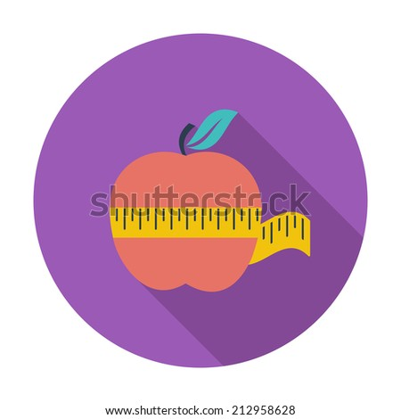 Apple whit centimeter. Single flat color icon. Vector illustration. - stock vector