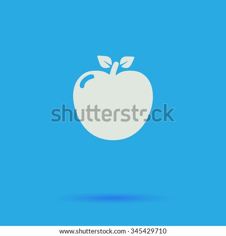 Apple White flat vector simple icon on blue background with shadow  - stock vector
