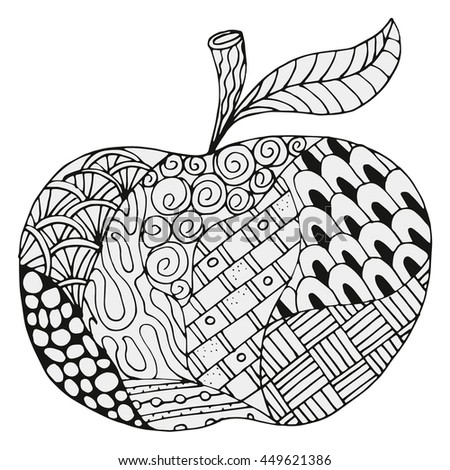 Apple With Abstract Figures Coloring Book Page For Adult And Children White Black