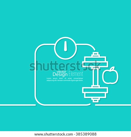 Apple with weights. The concept of  healthy diet and weight loss. outline. minimal. icon. Abstract background - stock vector