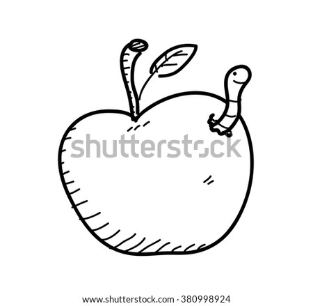 Apple Worm Doodle, a hand drawn vector doodle illustration of an apple with worm in it. - stock vector