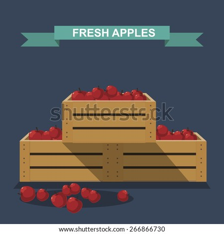 apples in wooden boxes - stock vector