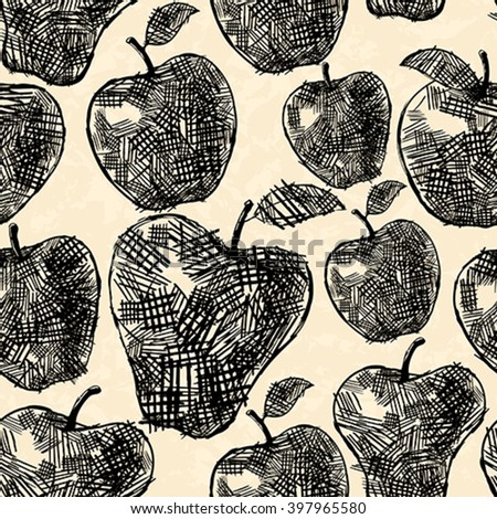 Apples seamless pattern in hand drawn style - stock vector