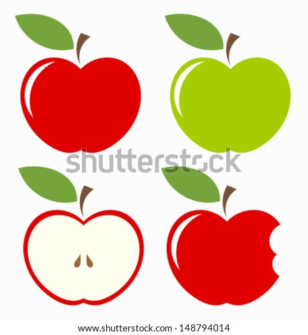 Apples. Set of red, green, bitten and half of fruit with leaf. Vector illustration - stock vector