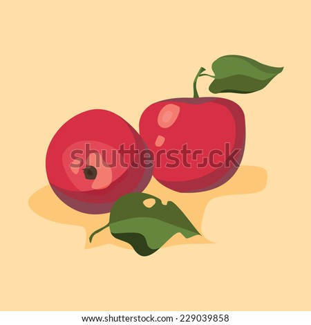 apples with leaf - stock vector