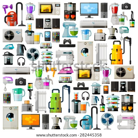 Appliances a set of colored icons. Collection of items - TV, washing machine, vacuum cleaner, computer, phone, headphones, kettle, toaster, game console, iron and other - stock vector