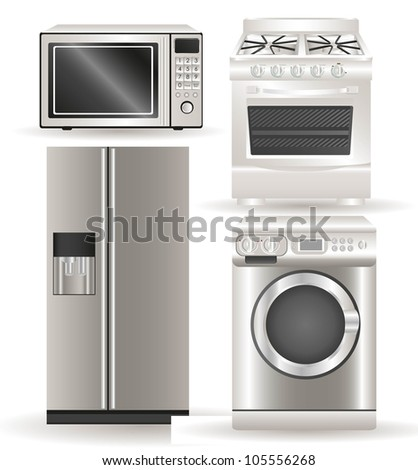 Appliances, contains washing machine, stove, microwave and refrigerator, vector illustration - stock vector