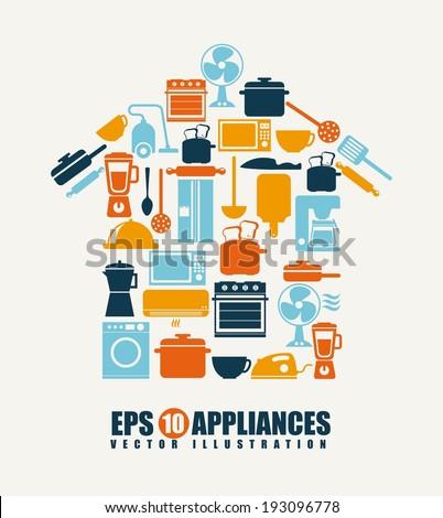 Appliances design over beige background, vector illustration - stock vector