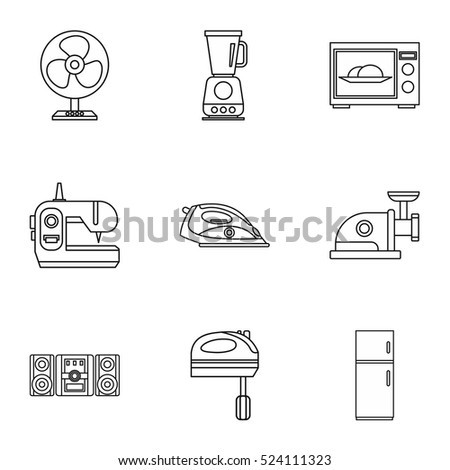 Appliances icons set. Outline illustration of 9 appliances vector icons for web