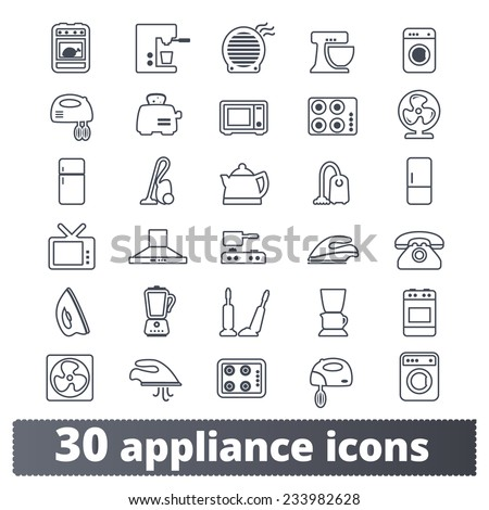 Appliances icons: vector set of domestic electric machines. Outline series. - stock vector