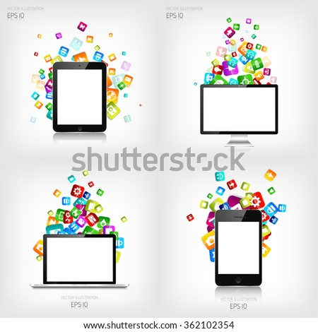 Application button.Social media.Cloud computing. Smartphone, laptop, tablet. - stock vector