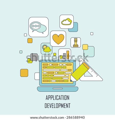 application development concept in flat thin line style - stock vector