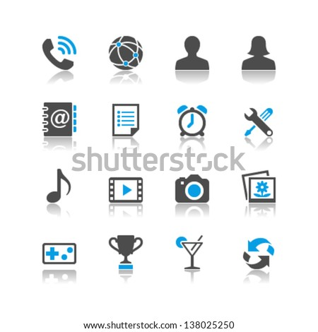 Application icons reflection theme - stock vector