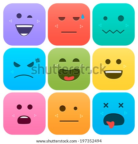 Application Icons Set. Cartoon faces with emotions v.2 - stock vector