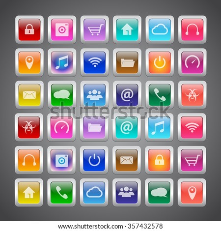 Application icons set with seamless pattern background, vector illustration