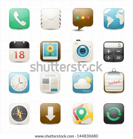 Application mobile icons and  white background