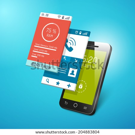 Application on smartphone screen. Different apps interfaces on display vector eps10 illustration - stock vector