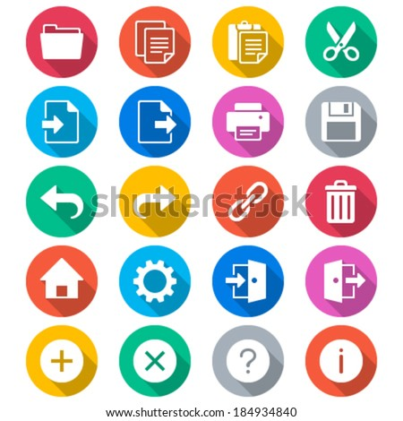 Application toolbar flat color icons - stock vector