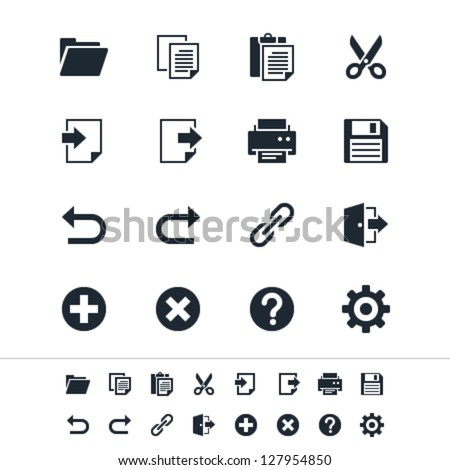 Application toolbar icons - stock vector