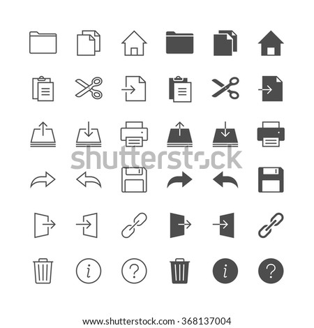 Application toolbar icons, included normal and enable state. - stock vector