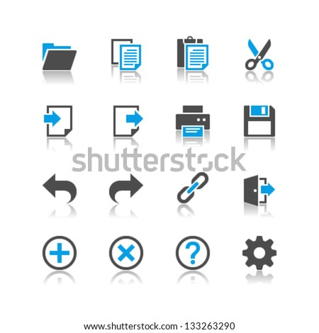 Application toolbar icons reflection theme - stock vector